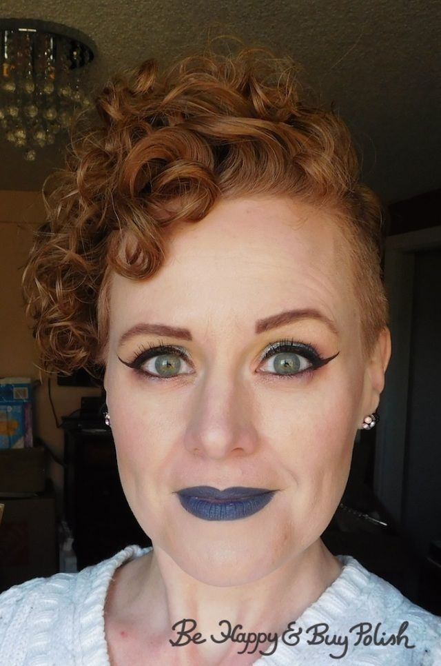 blue lipstick and blue eyeshadow look with Urban Decay, Sanguis Draconis, Makeup Revolution, Coastal Scents | Be Happy And Buy Polish