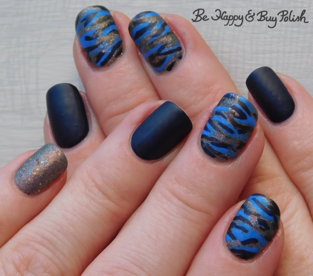 camo print nails with Polish 'M Burlap Beauty, LA Colors Cobalt, Moonflower Polish Sparkling Waters | Be Happy And Buy Polish