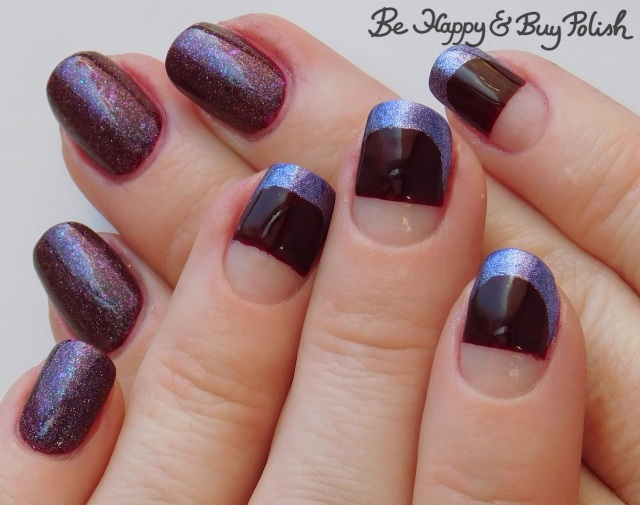 half negative space manicure with French tips with L.A. Colors Metal Nail Polish Majestic, Blackheart Beauty Deepest red, Polish 'M Cinnamon Pinecones | Be Happy And Buy Polish