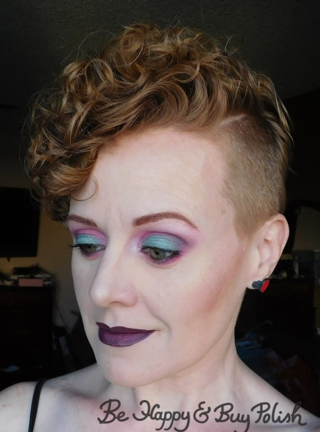 makeup look for redheads with Urban Decay Alice Through the Looking Glass, Coastal Scents 88 Original Palette, Glamour Doll Eyes Nice Kicks, LA Colors Smokin palette | Be Happy And Buy Polish
