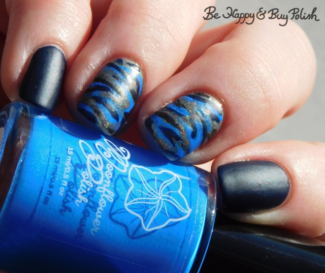 Moonflower Polish Sparkling Waters, Polish 'M Burlap Beauty, LA Colors Cobalt camo print nails | Be Happy And Buy Polish