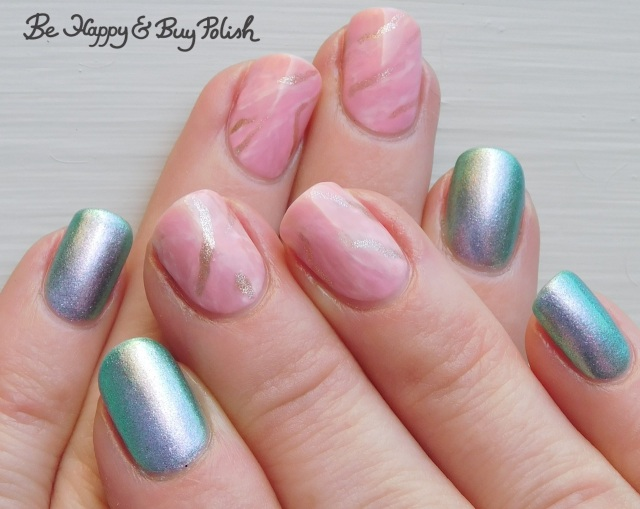 pink stone marble nails with LA Colors and POP Polish | Be Happy And Buy Polish