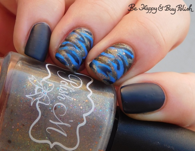 Polish 'M Burlap Beauty, LA Colors Cobalt, Moonflower Polish Sparkling Waters camo print nails | Be Happy And Buy Polish