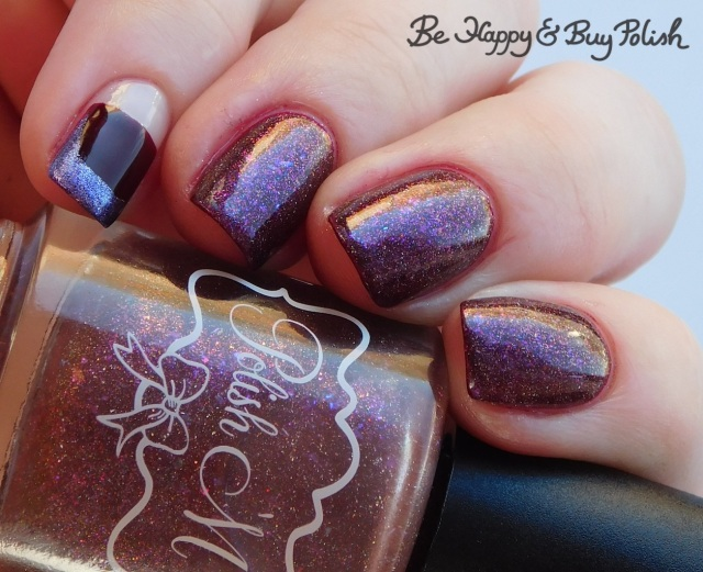 Polish 'M Cinnamon Pinecones, L.A. Colors Metal Nail Polish Majestic, Blackheart Beauty Deepest red half negative space manicure with French tips close up | Be Happy And Buy Polish