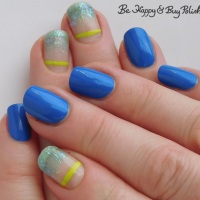 Gradient Glitter with Stripe Manicure with Moonflower Polish, Sinful Colors, OPI