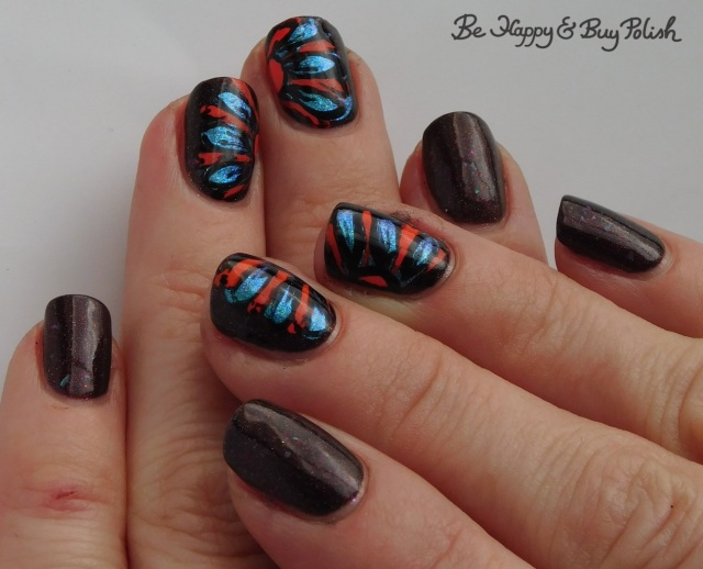 thermal flower drag manicure with Necessary Evil Polish Zero Stones Zero Crates cold state, P.O.P Polish Slick and Slide, Moonflower Polish Popsicle, L.A. Colors Circuits | Be Happy And Buy Polish