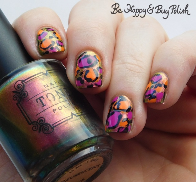 Tonic Polish Fleurescent, L.A. Colors Electric, Ionize, Circuits leopard print mani | Be Happy And Buy Polish