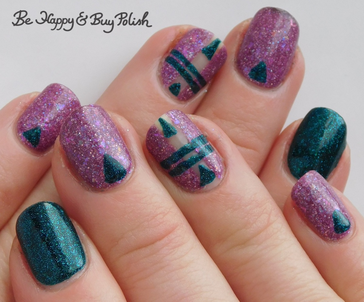 Thermal triangle and stripe manicure with Polish 'M and Hot Topic Blackheart Beauty