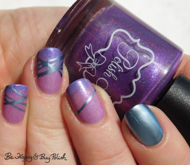 blackheart beauty liquid crystals sapphire, polish 'm chilly willy diagonal stripe thermal manicure transition state close up | Be Happy And Buy Polish