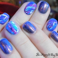 Blacklight marbled nails with Blush Lacquers and L.A. Colors