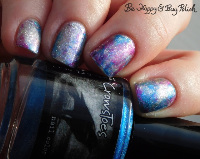 crowstoes just another gravitational wave, polish 'm at frost glance, l.a. colors unpredictable, space cadet saran wrap manicure | Be Happy And Buy Polish