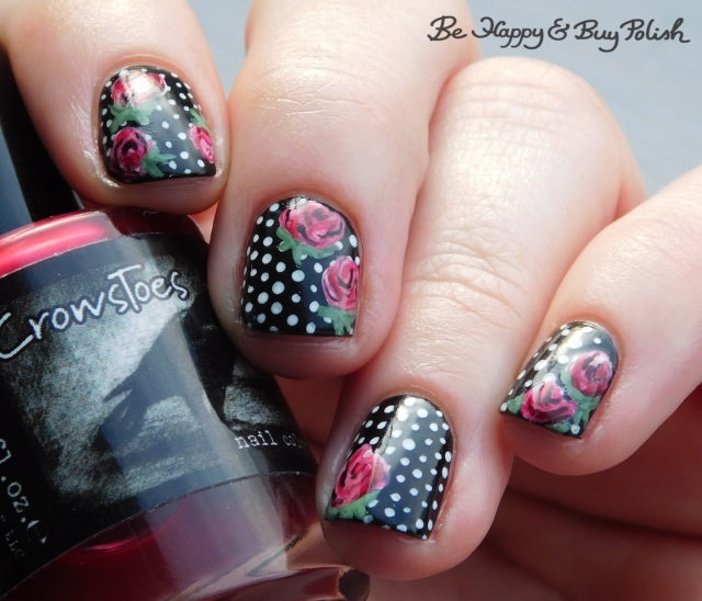 crowstoes nail color hurt me once, and i'll kill you twice, moonflower polish electric slime, blackheart beauty cursed, mint pastel polka dot rose nail art manicure | Be Happy And Buy Polish
