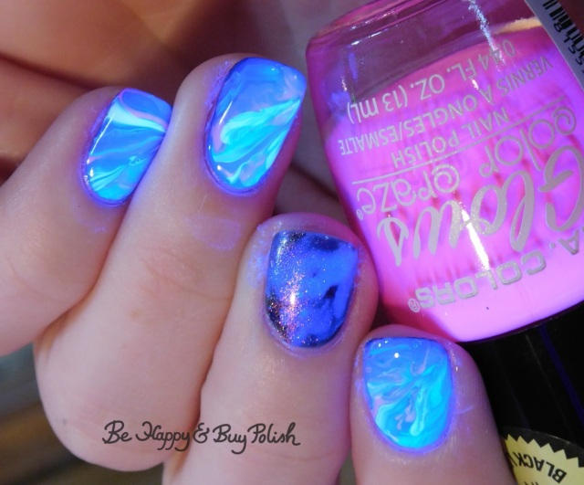 l.a. colors spectrum, nuclear, energy, gleaming, blush lacquers not your average seahorse, p.o.p polish radioactive glass blacklight marbled nails | Be Happy And Buy Polish