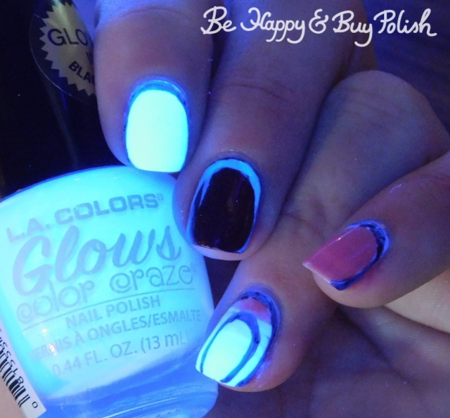 la colors glows energy, pop polish radioactive glass, la colors jelly sheer kiss, supernatural lacquer mercury in retrograde blacklight border manicure | Be Happy And Buy Polish