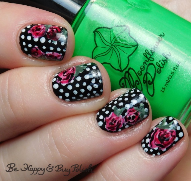 moonflower polish electric slime, crowstoes nail color hurt me once, and i'll kill you twice, blackheart beauty cursed, mint pastel polka dot rose nail art manicure | Be Happy And Buy Polish