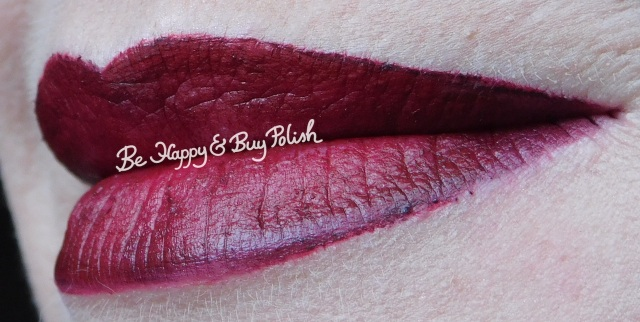 nyx cosmetics liquid suede cherry skies, rimmel london show off big bang, wet n wild eerie onyx lip swatch | Be Happy And Buy Polish