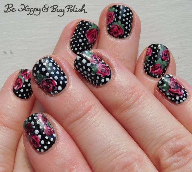 polka dot rose nail art manicure with moonflower polish, crowstoes nail color, hot topic blackheart beauty | Be Happy And Buy Polish