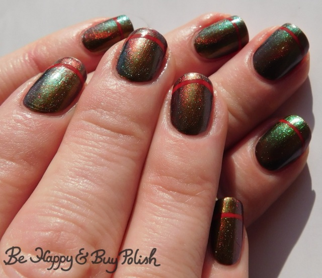 simple stripe magnetic manicure with kbshimmer santa claws, la colors siren | Be Happy And Buy Polish