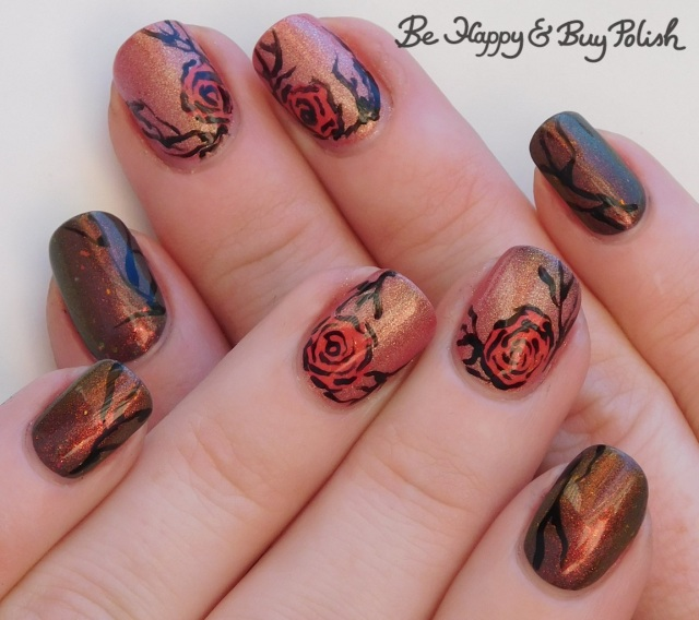 thermal flower nail art manicure warm state with polish 'm, colors by llarowe, l.a. colors | Be Happy And Buy Polish