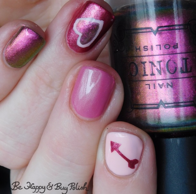 tonic polish fleurescent, sally hansen crayola instadri shimmering blush, sally hansen miracle gel smartease, l.a. colors mermaid magic pink pearl heart and arrow manicure | Be Happy And Buy Polish