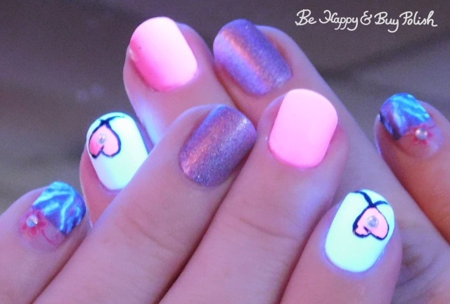 blacklight neon pink heart manicure with polish 'm, l.a. colors | Be Happy And Buy Polish