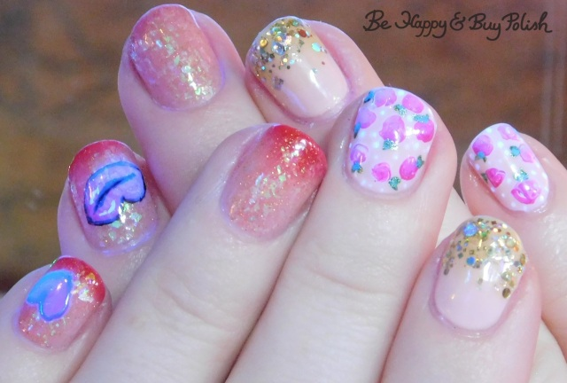 blacklight rose and heart nail art manicure with l.a. colors glows, opi, different dimension, illimite | Be Happy And Buy Polish