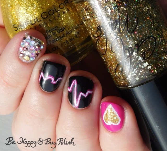 Cult Nails Walk of Shame, Sinful Colors Candy Ginger, Sinful Colors Black on Black, L.A. Colors Glows Electric, Energy heartbeat manicure | Be Happy And Buy Polish
