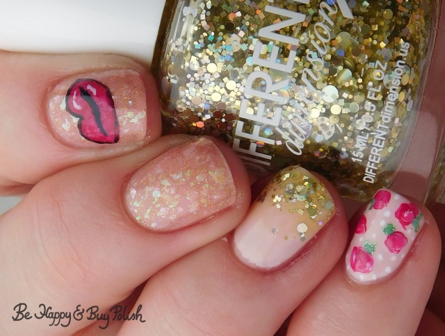 different dimension you're not making any frankincense, illimite, l.a. colors glows, sally hansen, opi rose and heart nail art manicure | Be Happy And Buy Polish