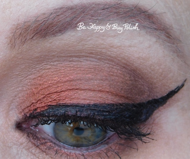 eyeshadow look with Saucebox Cosmetics Inferno, Beaming, Caramel, Notoriously Morbid Desire close up | Be Happy And Buy Polish