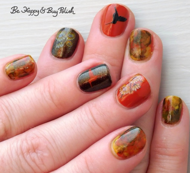 flowers and hummingbird manicure with Parrot Polish Citrus Twist, SuperMoon Lacquer Fight Your Demons, OPI It's a Piazza Cake | Be Happy And Buy Polish