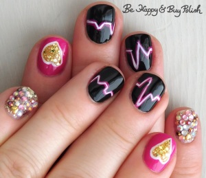 heartbeat manicure with L.A. Colors Glows Energy, Electric, Sinful Colors Black on Black, Cult Nails Walk of Shame, Sinful Colors Candy Ginger | Be Happy And Buy Polish