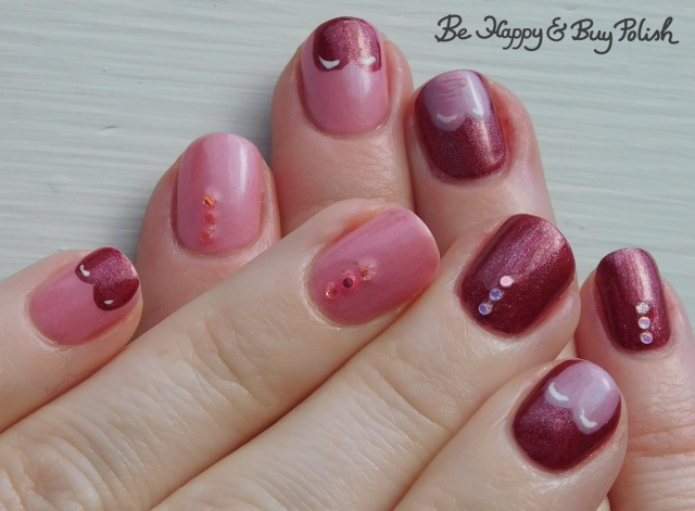 heart tips manicure with Sally Hansen Big Dip O'Ruby, Inspired Sense Peaceful Pink, L.A. Colors Energy Source | Be Happy And Buy Polish