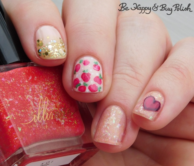 illimite koi, l.a. colors glows, different dimension, sally hansen, opi rose and heart nail art manicure | Be Happy And Buy Polish