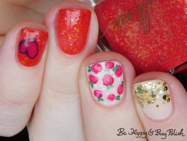 illimite koi thermal polish, l.a. colors glows, different dimension, sally hansen, opi rose and heart nail art manicure | Be Happy And Buy Polish