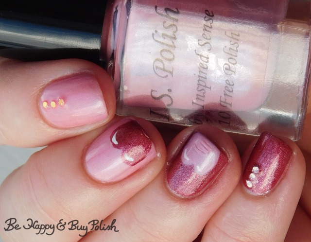 Inspired Sense Peaceful Pink, Sally Hansen Big Dip O'Ruby, L.A. Colors Energy Source heart tips manicure | Be Happy And Buy Polish