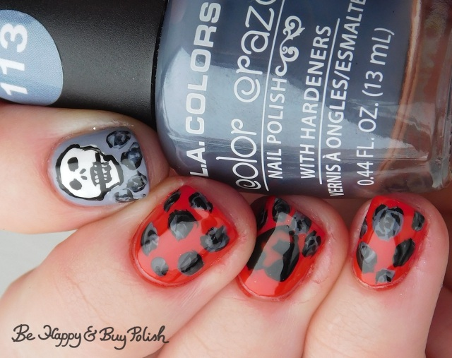 L.A. Colors Blankie and Flannel Grey, Max Factor Cerise, Sinful Colors Black on Black and Snow Me White, Polish 'M All the Fall Feels skull and dead roses anti-Valentine's Day manicure | Be Happy And Buy Polish
