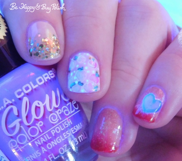 l.a. colors glows radio active, illimite, different dimension, sally hansen, opi rose and heart nail art blacklight manicure | Be Happy And Buy Polish