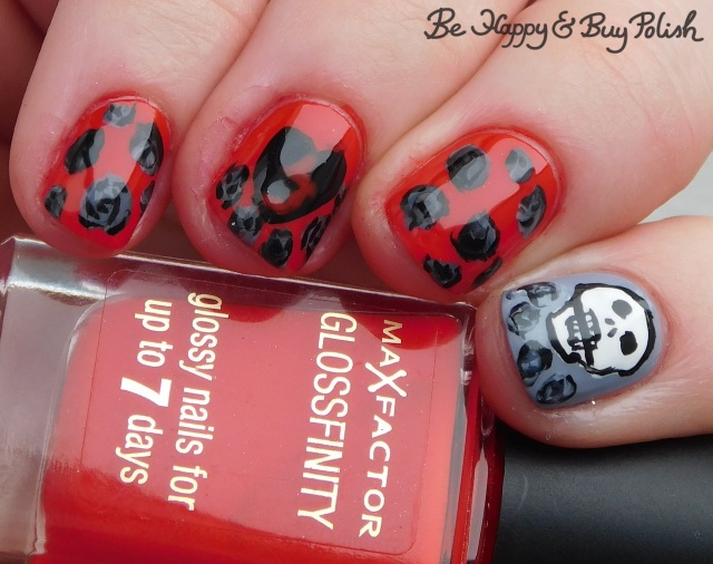 Max Factor Cerise, Sinful Colors Black on Black and Snow Me White, Polish 'M All the Fall Feels, L.A. Colors Blankie and Flannel Grey skull and dead roses manicure | Be Happy And Buy Polish