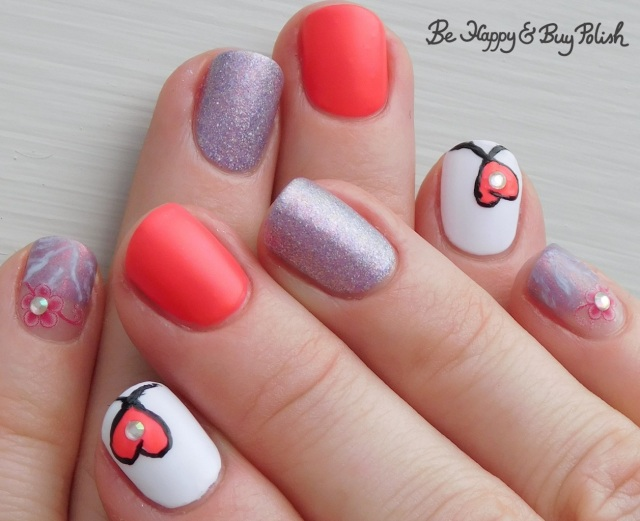 neon pink heart manicure with polish 'm, l.a. colors | Be Happy And Buy Polish