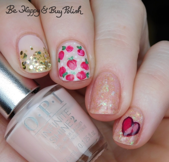 opi bubble bath, illimite, l.a. colors glows, different dimension, sally hansen rose and heart nail art manicure | Be Happy And Buy Polish