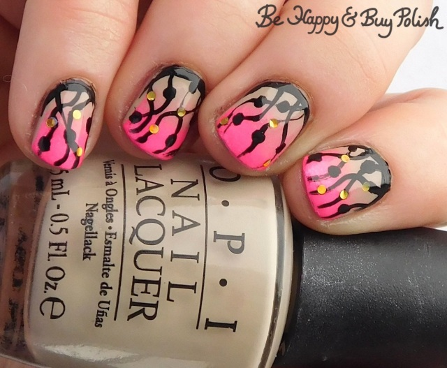 OPI Did You Ear About Van Gogh, Moonflower Polish Ken I Pink I Love You, Sinful Colors Black on Black, What's Up Nails Sapphire Confetti dotted streamer manicure | Be Happy And Buy Polish