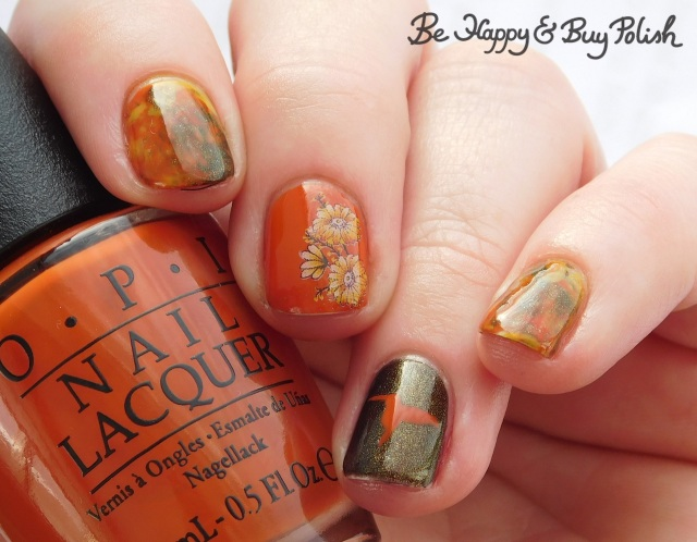 OPI It's a Piazza Cake, SuperMoon Lacquer Fight Your Demons, Parrot Polish Citrus Twist flowers and hummingbird manicure | Be Happy And Buy Polish