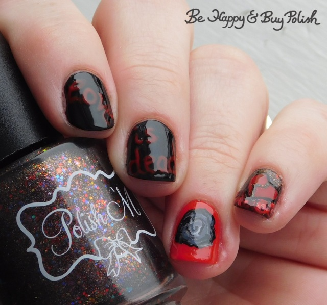 Polish 'M All the Fall Feels, Sinful Colors Black on Black and Snow Me White, L.A. Colors Blankie and Flannel Grey, Max Factor Cerise love is dead broken heart manicure | Be Happy And Buy Polish