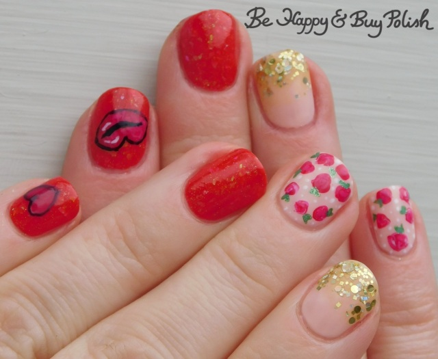 rose and heart nail art manicure with l.a. colors glows, opi, different dimension, illimite | Be Happy And Buy Polish