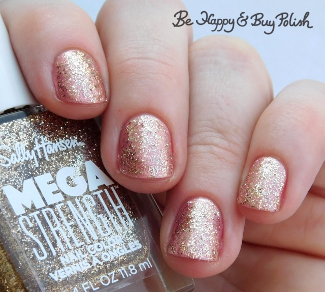Sally Hansen Mega Strength nail polish Wild Card over Rise Up | Be Happy And Buy Polish