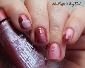 Sally Hansen Big Dip O'Ruby, Inspired Sense Peaceful Pink, L.A. Colors Energy Source heart tips manicure | Be Happy And Buy Polish