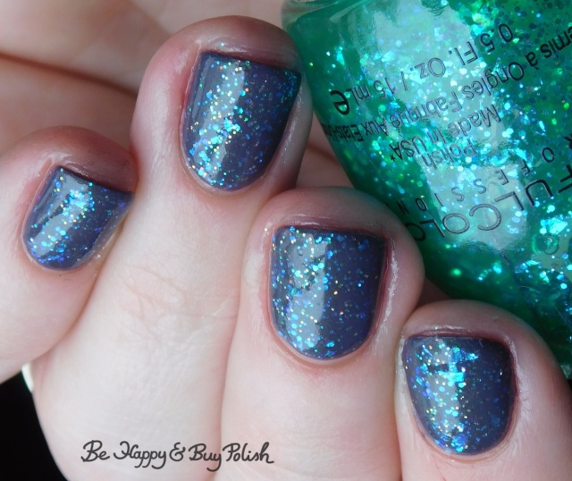 Sinful Colors Green Ocean, L.A. Colors Sassy Sparkle, essie Twill Seeker glitter manicure | Be Happy And Buy Polish