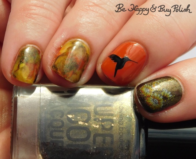 SuperMoon Lacquer Fight Your Demons, OPI It's a Piazza Cake, Parrot Polish Citrus Twist flowers and hummingbird manicure | Be Happy And Buy Polish