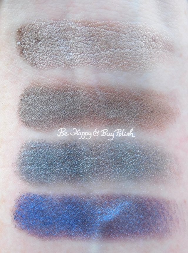 becca Volcano Goddess Agate Ash, Crater, Hematite, Midnight Sapphire eyeshadows swatches | Be Happy And Buy Polish