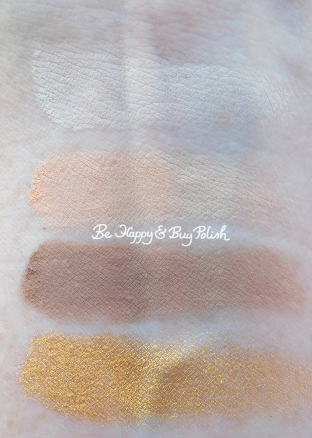 becca Volcano Goddess Cloud, Volcanic Sand, Granite, Gilded eyeshadows swatches | Be Happy And Buy Polish